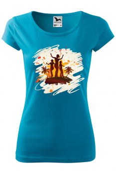 Tricou personalizat Tropical Summer, pentru femei, turcoaz, 100% bumbac