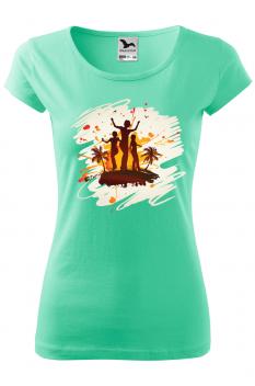 Tricou personalizat Tropical Summer, pentru femei, verde menta, 100% bumbac