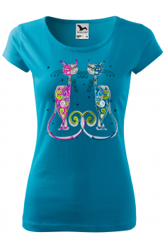 Tricou personalizat New York Cats, pentru femei, turcoaz, 100% bumbac