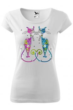 Tricou personalizat New York Cats, pentru femei, alb, 100% bumbac