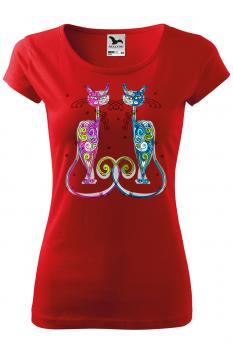 Tricou personalizat New York Cats, pentru femei, rosu, 100% bumbac