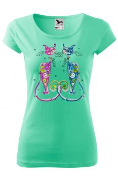Tricou personalizat New York Cats, pentru femei, verde menta, 100% bumbac