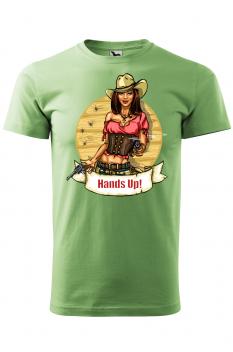 Tricou personalizat Hands Up, pentru barbati, verde iarba, 100% bumbac