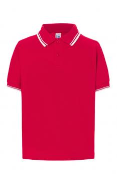 Tricou polo copii City, bumbac 100%, red/white