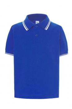 Tricou polo copii City, bumbac 100%, royal blue/white