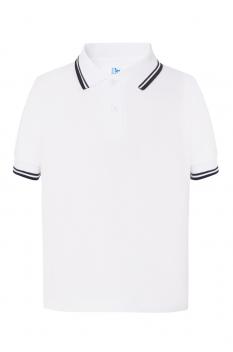 Tricou polo copii City, bumbac 100%, white/navy