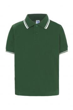 Tricou polo copii City, bumbac 100%, bottle green/white