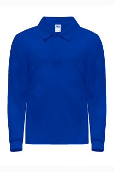 Tricou polo cu maneca lunga copii, bumbac 100%, Premier, royal blue