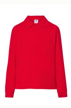 Tricou polo cu maneca lunga copii, bumbac 100%, Premier, red