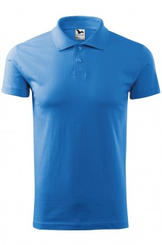 Tricou polo barbati, bumbac 100%, Malfini Single Jersey, albastru azuriu