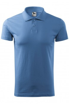 Tricou polo barbati, bumbac 100%, Malfini Single Jersey, albastru deschis