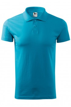 Tricou polo barbati, bumbac 100%, Malfini Single Jersey, turcoaz
