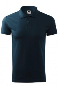 Tricou polo barbati, bumbac 100%, Malfini Single Jersey, albastru marin