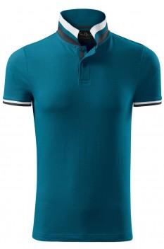 Tricou polo barbati, bumbac 100%, Malfini Premium Collar Up, albastru petrol